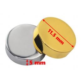 Set of 24 metal decorative caps, silver 11.5x5.0 mm