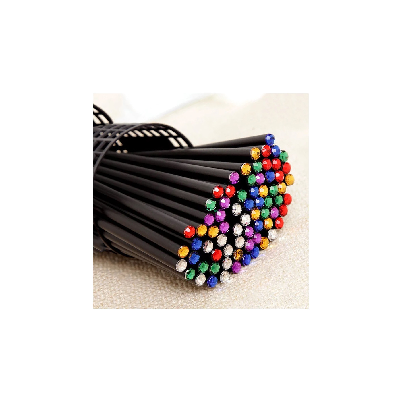 Set of 40 black wooden pencils with diamond