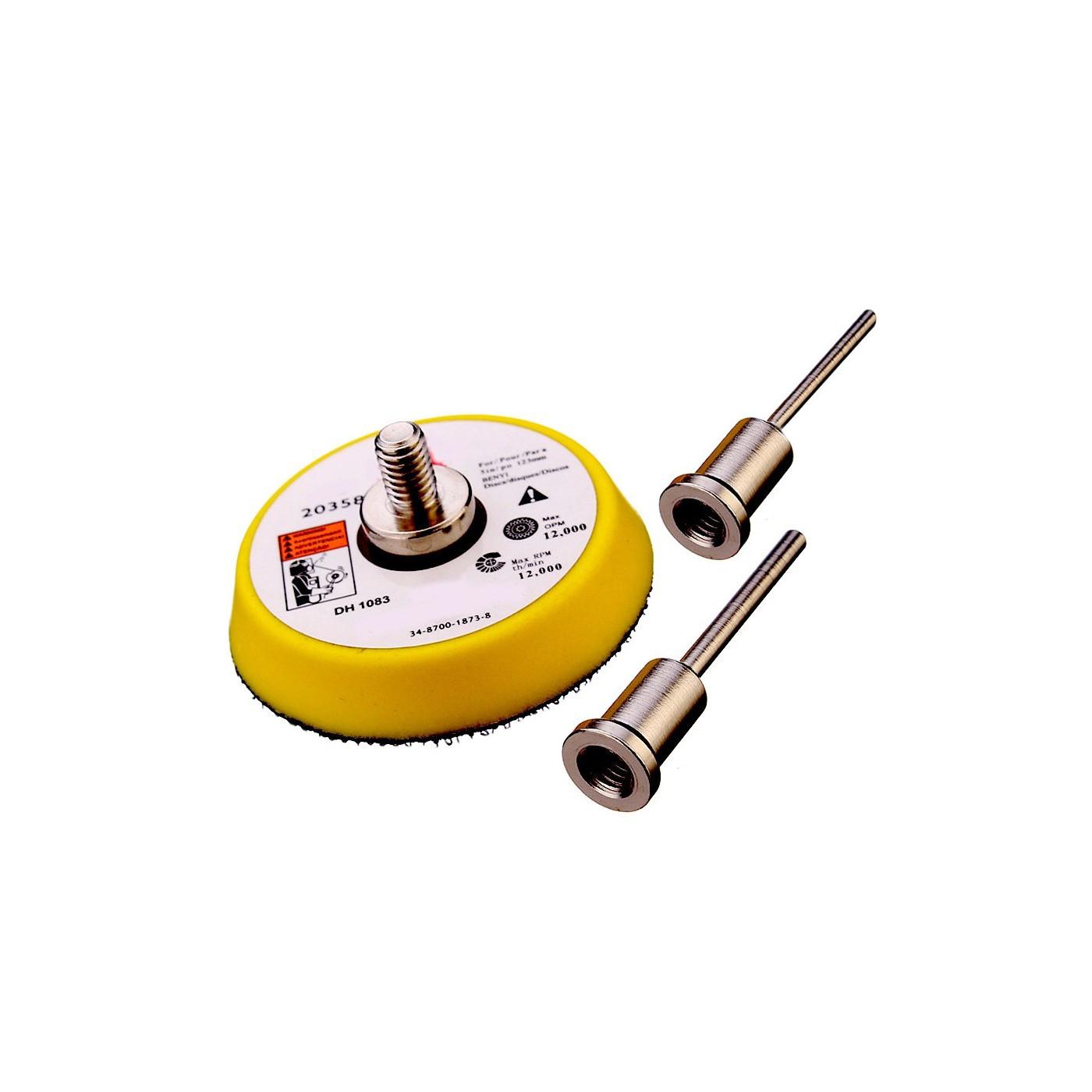 Sanding pad 50 mm (hook & loop) with 2 adapters