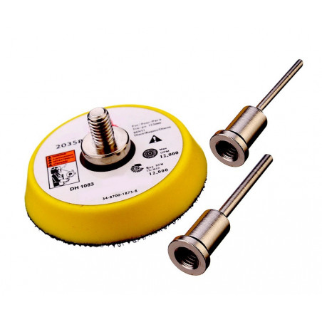 Schleifscheibenhalter 50 mm (Klettverschluss) mit 2 Adaptern