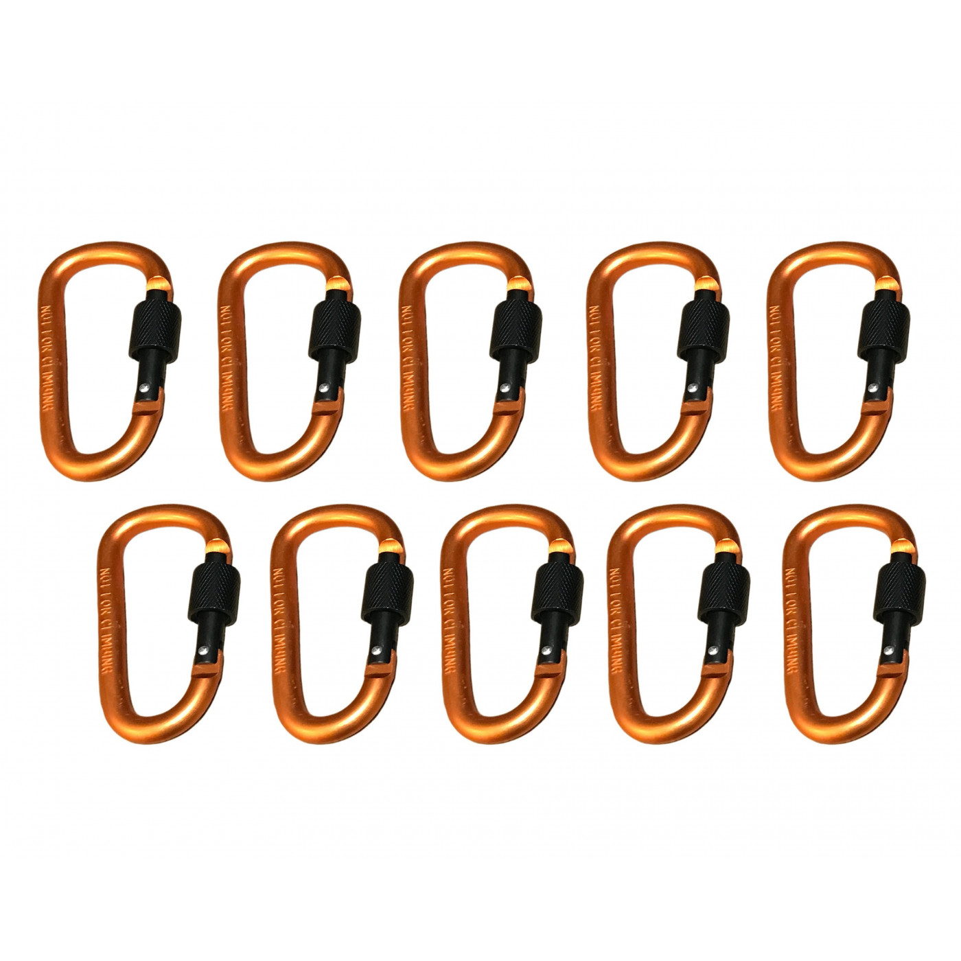 Set di 10 moschettoni, colore 3: arancione, 100 kg