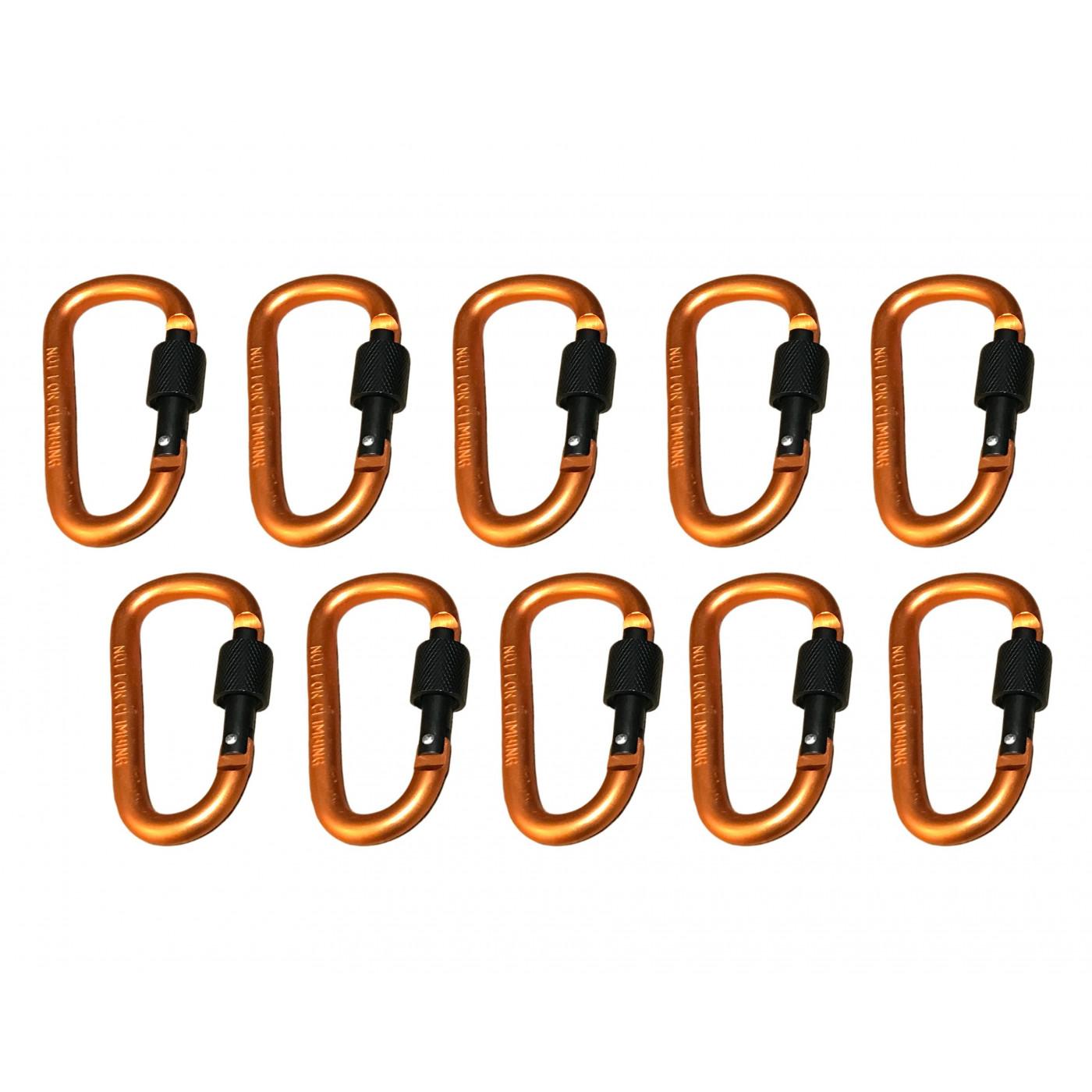 Set van 10 karabijnhaken, kleur 3: orange, 100 kg