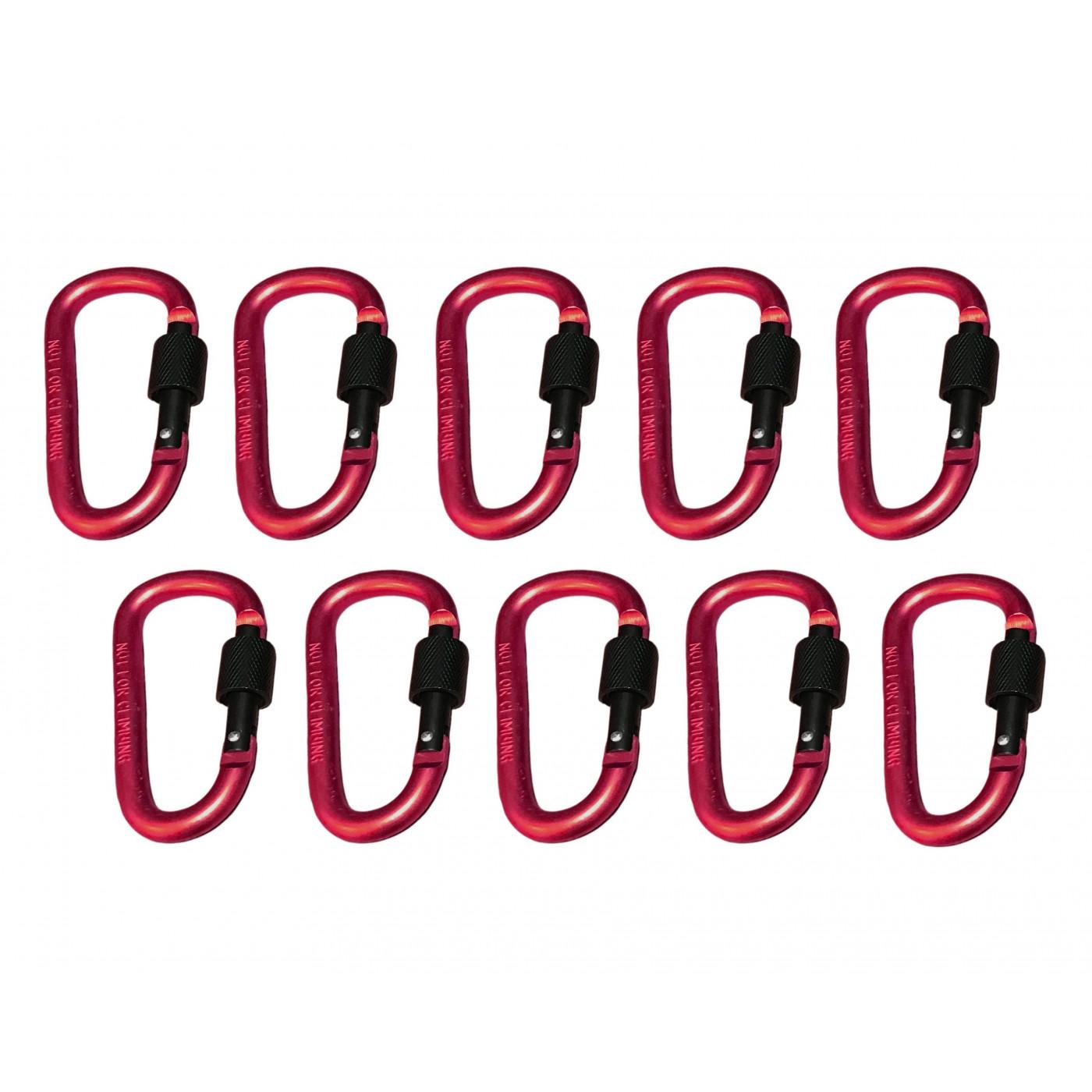 Set van 10 karabijnhaken, kleur 5: red, 100 kg