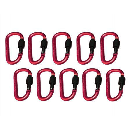Set di 10 moschettoni, colore 5: rosso, 100 kg