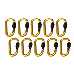 Set of 10 carabiners, color 8: yellow, 100 kg  - 1
