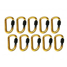 Set van 10 karabijnhaken, kleur 8: yellow, 100 kg  - 1