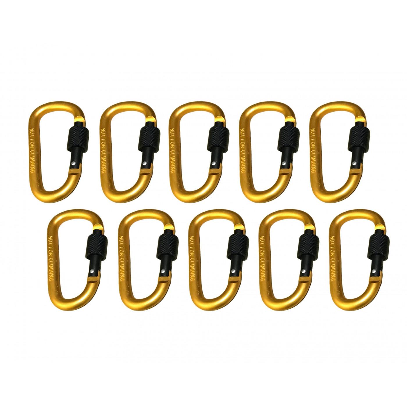 Zestaw 10 karabińczyków, kolor 8: żółty, 100 kg