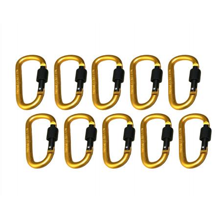 Set van 10 karabijnhaken, kleur 8: yellow, 100 kg