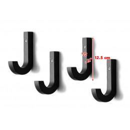 Gancio a parete in legno, nero, 1 pezzo (forma a J, 2x2x12,5 cm)