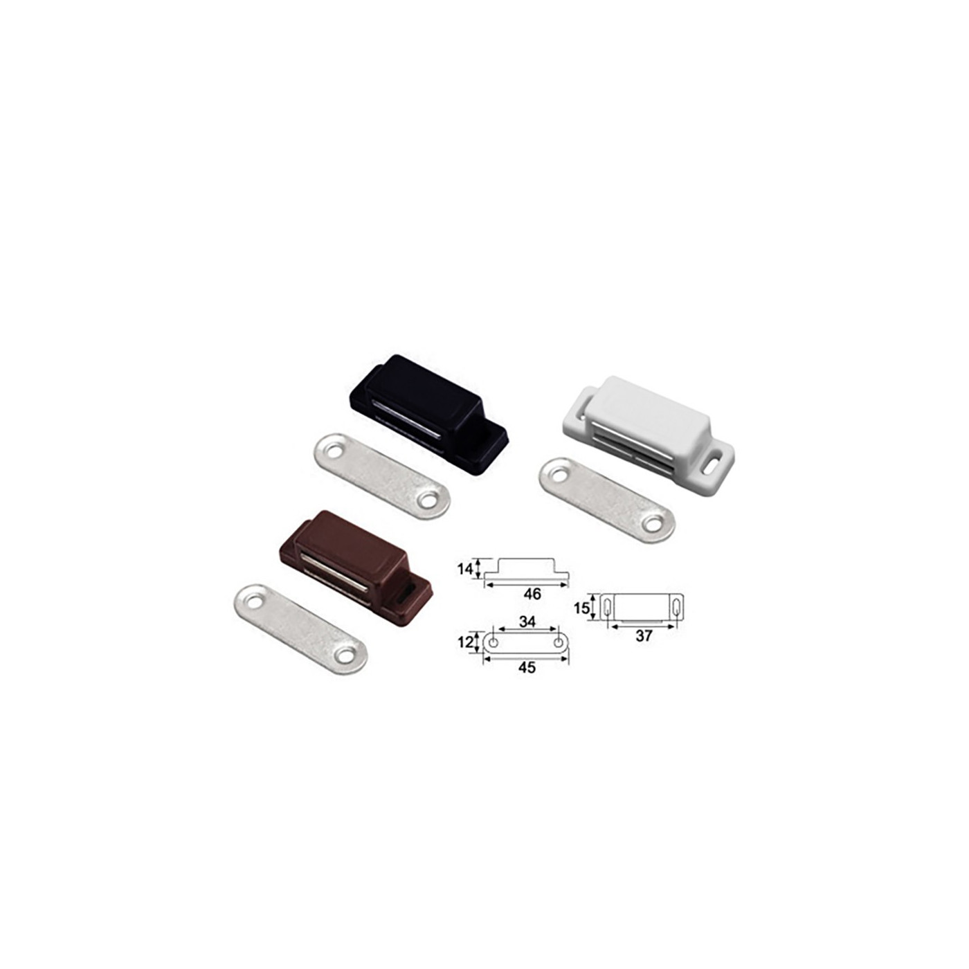 Set of 8 magnetic push to open cabinet catches: black