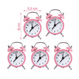 Set van 5 kleine wekkertjes, baby roze (op batterij)  - 2