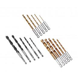 Conjunto extenso de 15 brocas para madeira e metal (eixo sextavado)  - 1