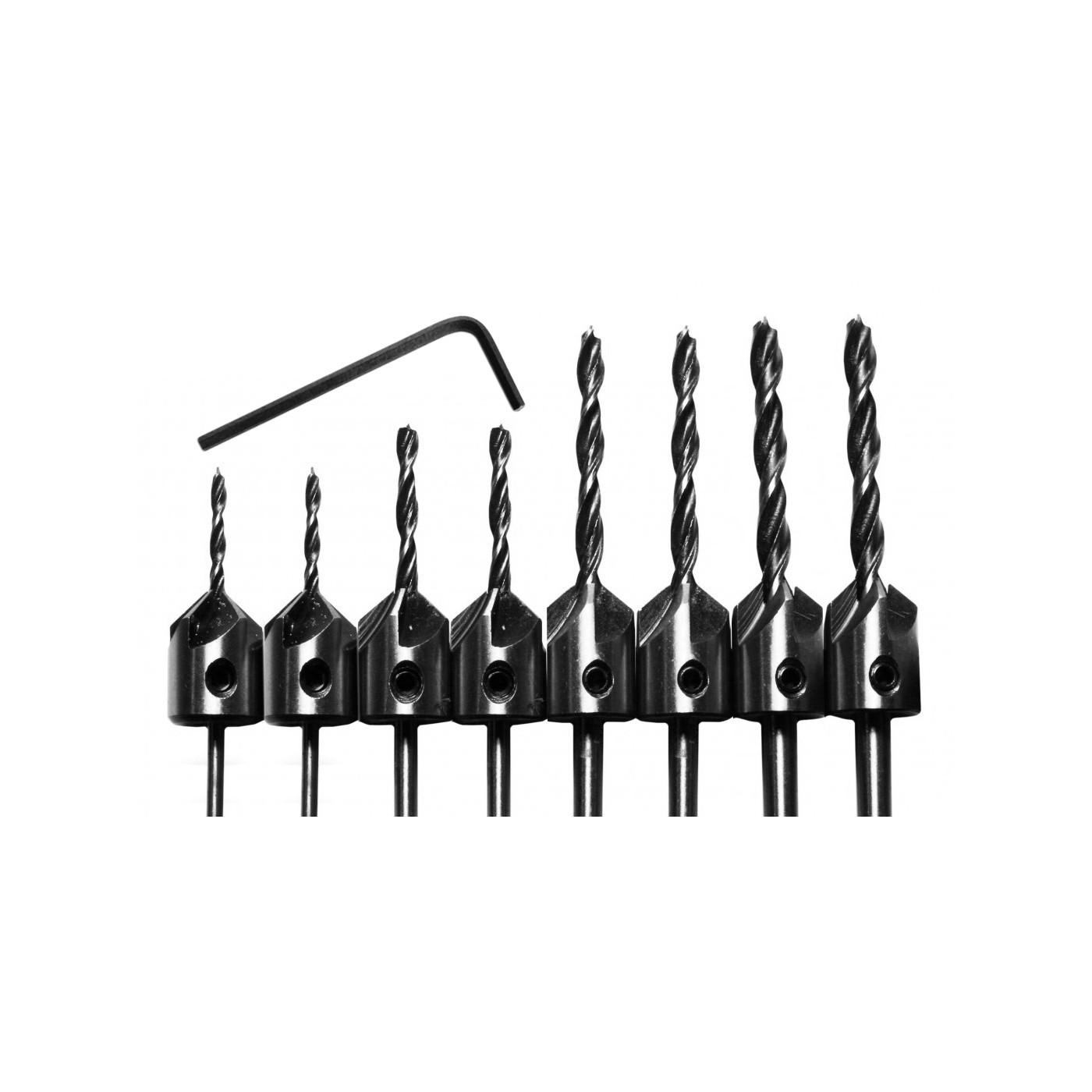 Set van 8 houtboren met verzinkstuk (3-6 mm)  - 1