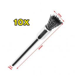 Set mini steel wire brushes (3mm schaft, 10 pieces)