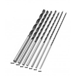 Set of 7 wood drills (4-12 mm) extra long wood drill bits (300 mm)  - 1