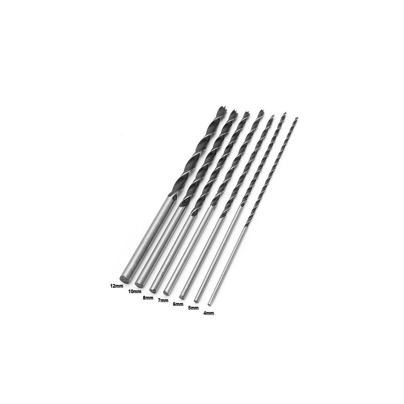 Set di 7 punte per legno extra lunghe (4-12 mm, lunghezza 300