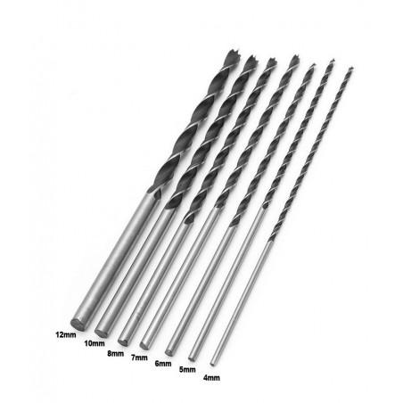 Set of 7 wood drills (4-12 mm) extra long wood drill bits (300