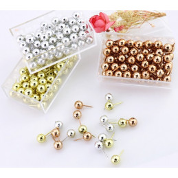 Set of 300 pcs ball push pins: silver, gold, rosegold