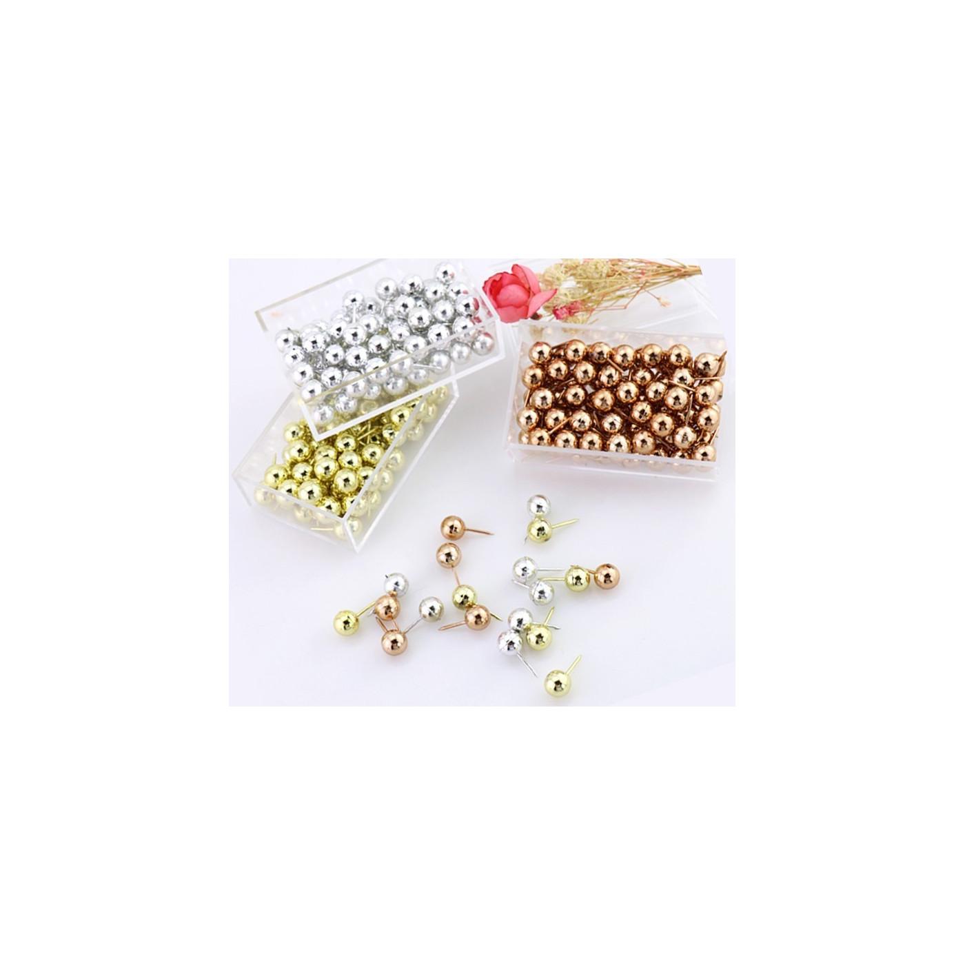 Set van 300 punaises (zilver, goud en rosegoud) in doosjes