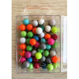 Push pins ball in transparent box: mixed colors, 50pcs