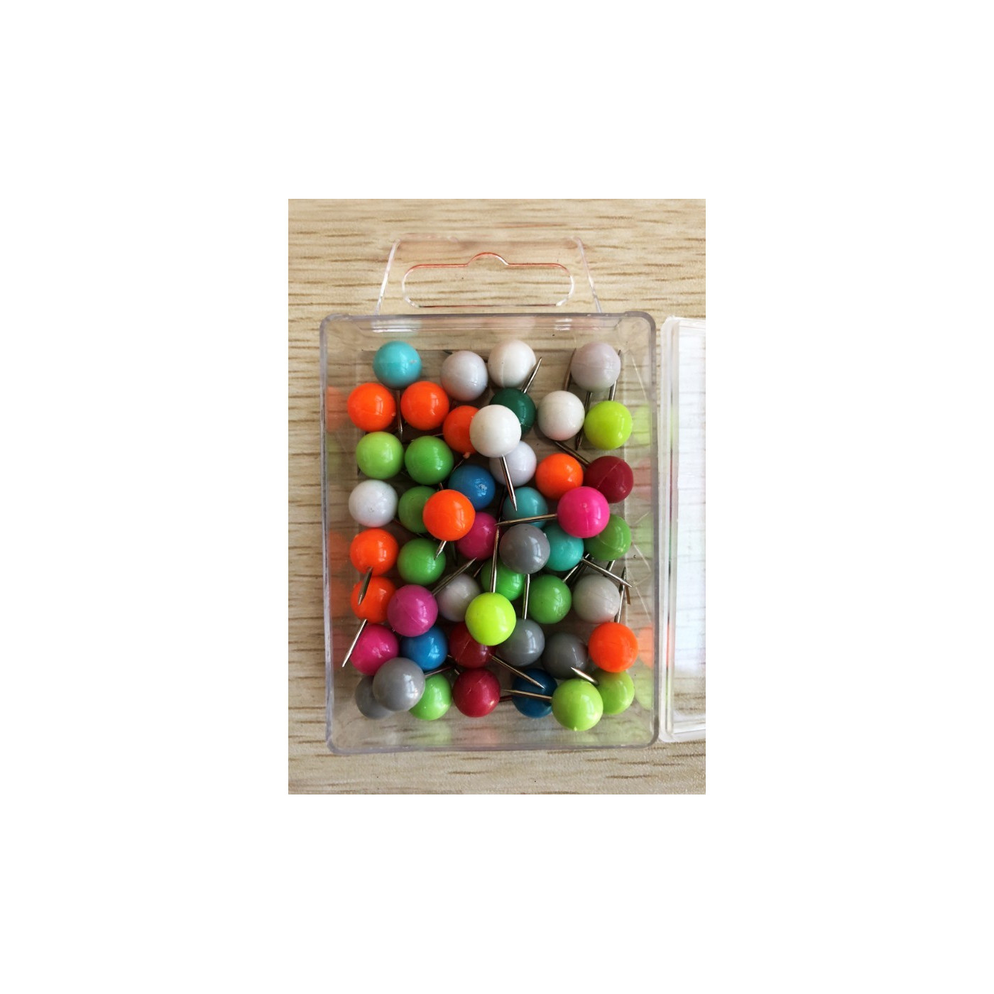 Set of 250 ball push pins: mixed colors in 5 boxes  - 1