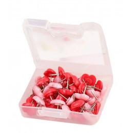 Set van 240 punaises: mix van roze en rode hartjes in doosjes  - 1