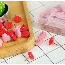 Set of heart push pins: pink and red, 240 pcs