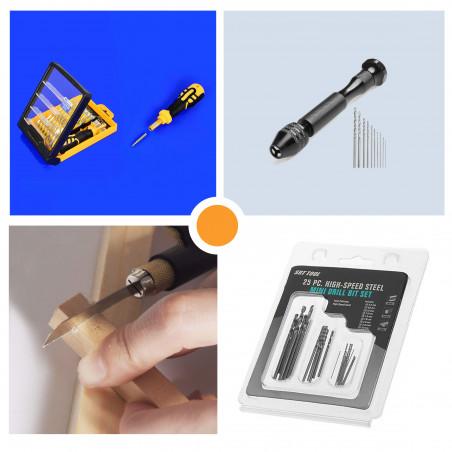 Zestaw 3 mini narzędzi: śruba, wiertło i piła  - 1