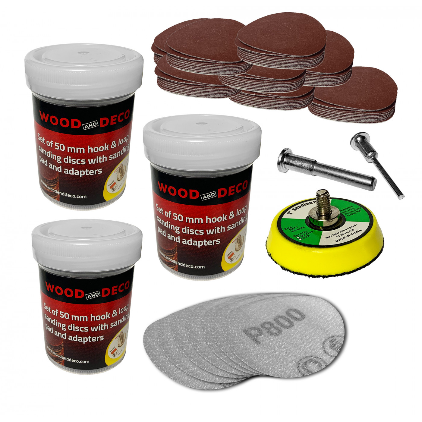 Set of 50 mm sanding pad, 100 discs (coarse), 2 adapters