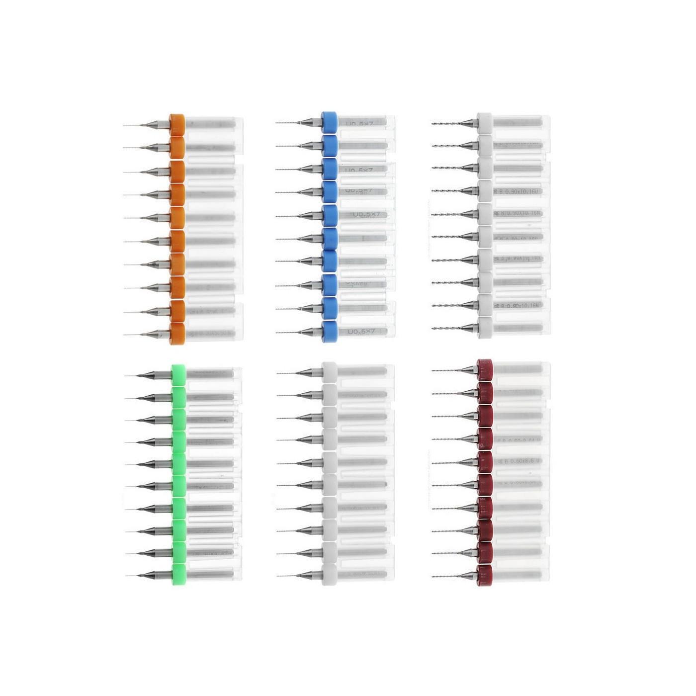 Combi set of 10 micro drill bits in box (0.10-1.00 mm)