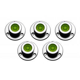 Set van 5 ronde waterpasjes (met metalen houder)  - 1