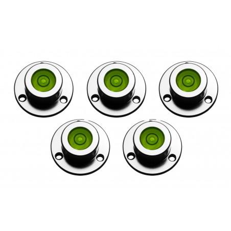 Set van 5 ronde waterpasjes (met metalen houder)
