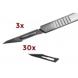 Set van 3 vlijmscherpe scalpels (met 30 mesjes inbegrepen)