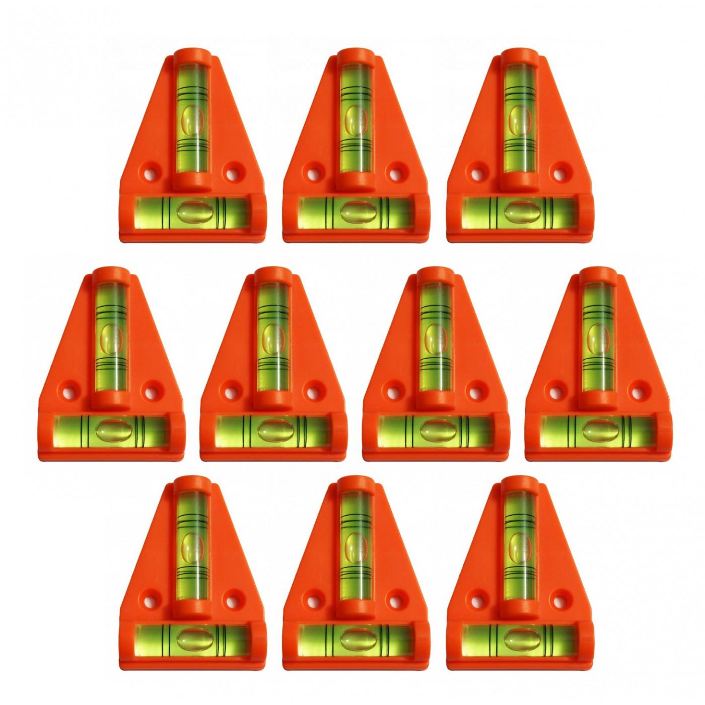 Set von 10 Wasserwaage mit Schraubenlöchern (orange)
