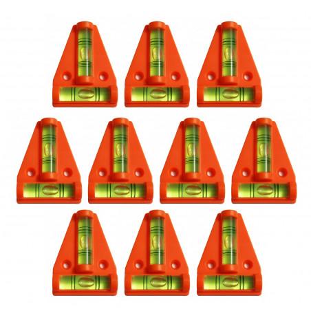 Set of 10 cross levels with screw holes (orange)