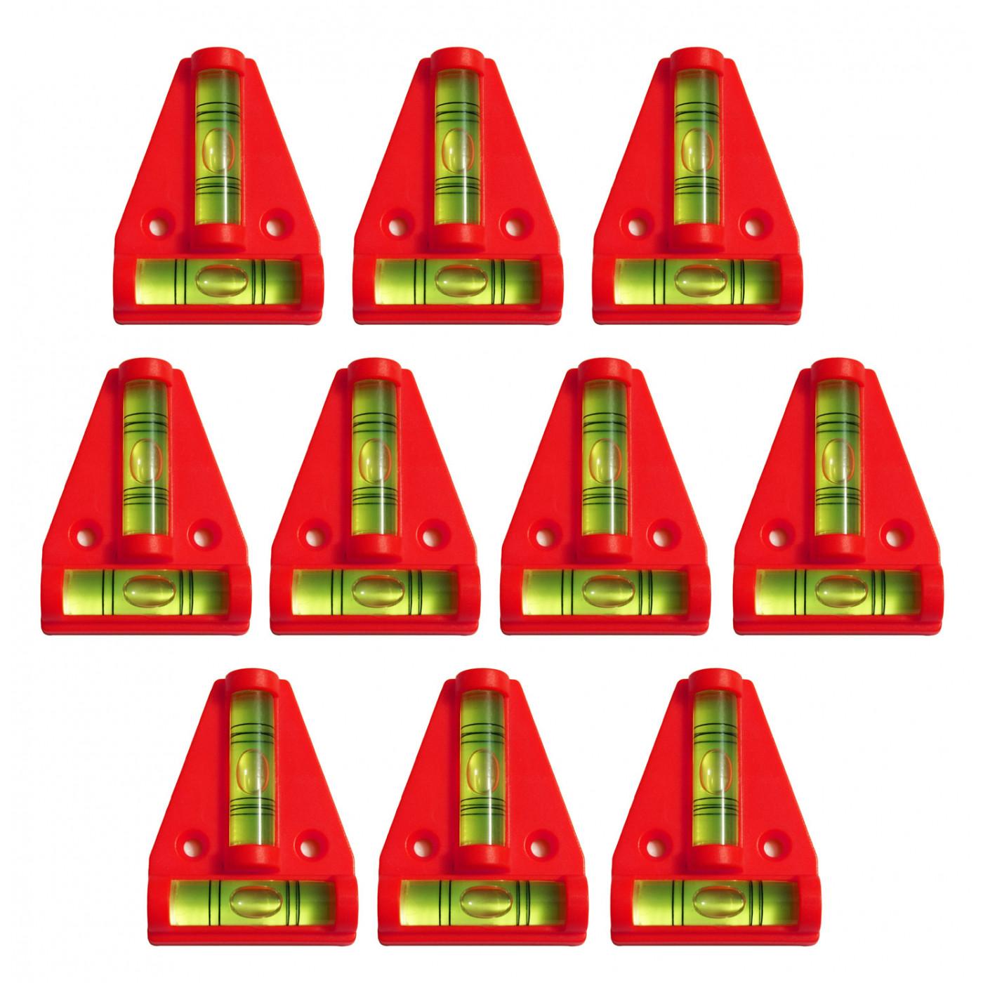 Set von 10 Wasserwaage mit Schraubenlöchern (rot)