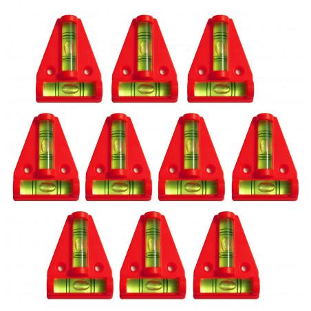 Set van 10 kruiswaterpassen met schroefgaten (rood)