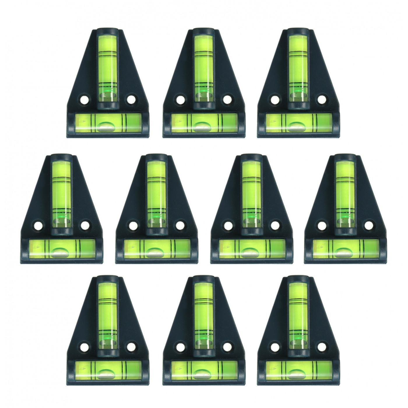 Set von 10 Wasserwaage mit Schraubenlöchern (schwarz)  - 1
