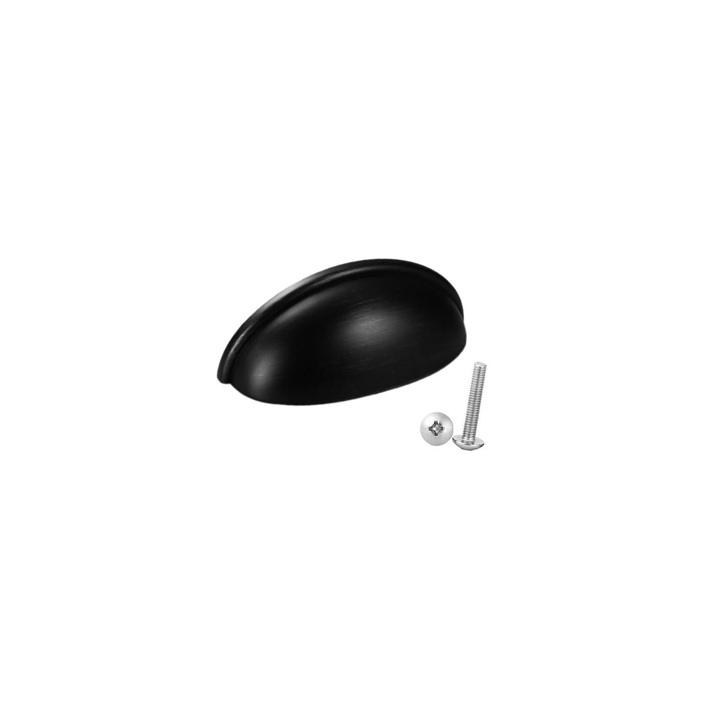 Set van 10 handgrepen schelp, voor meubels: zwart