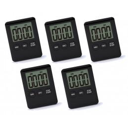 Zestaw 5 cyfrowych timerów, budzików, czarny  - 1