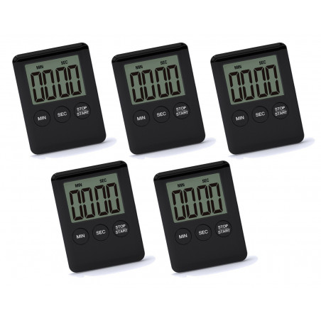 Set of 5 digital timers, alarm clocks, black  - 1