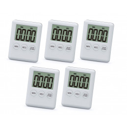 Set of 5 digital timers, alarm clocks, white  - 1