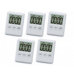 Zestaw 5 cyfrowych timerów, budzików, biały  - 1