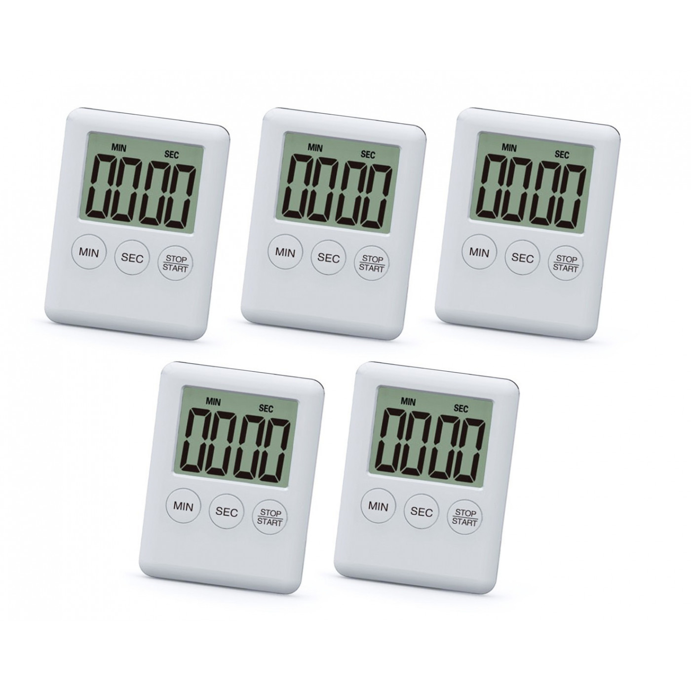Set of 5 digital timers, alarm clocks, white