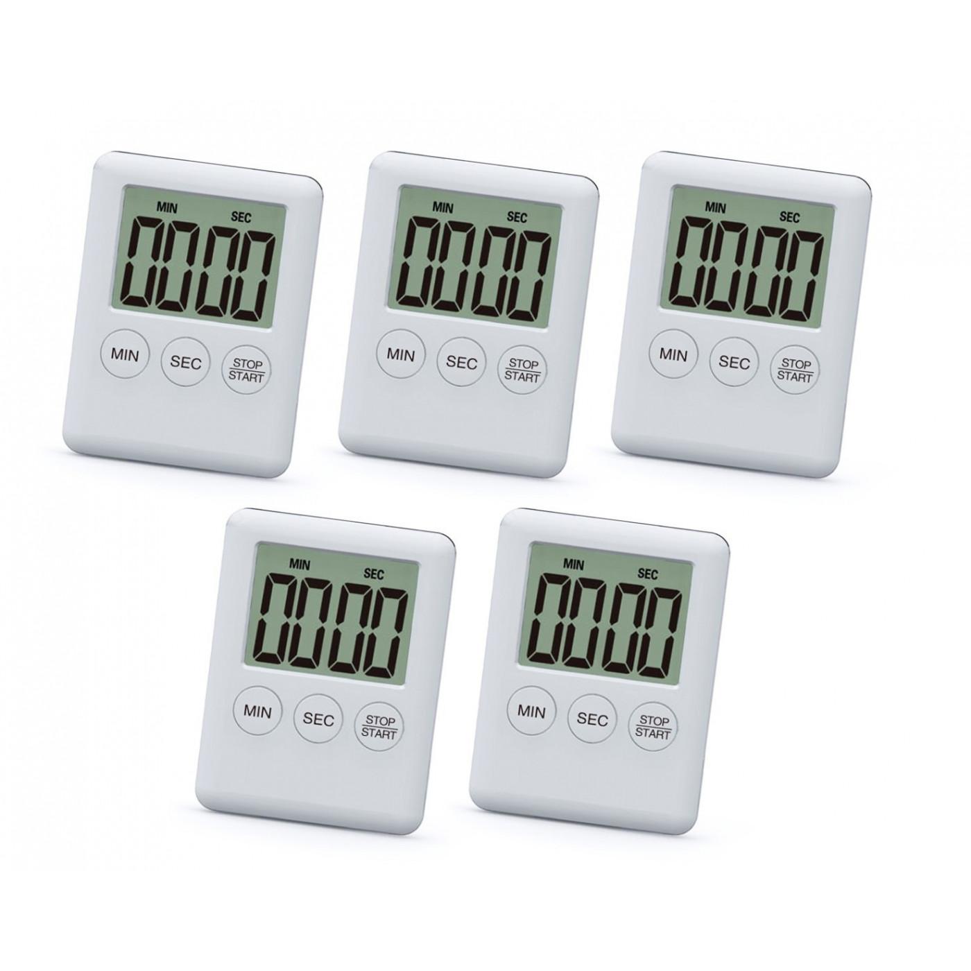 Set van 5 digitale timers, alarmklokken, wit