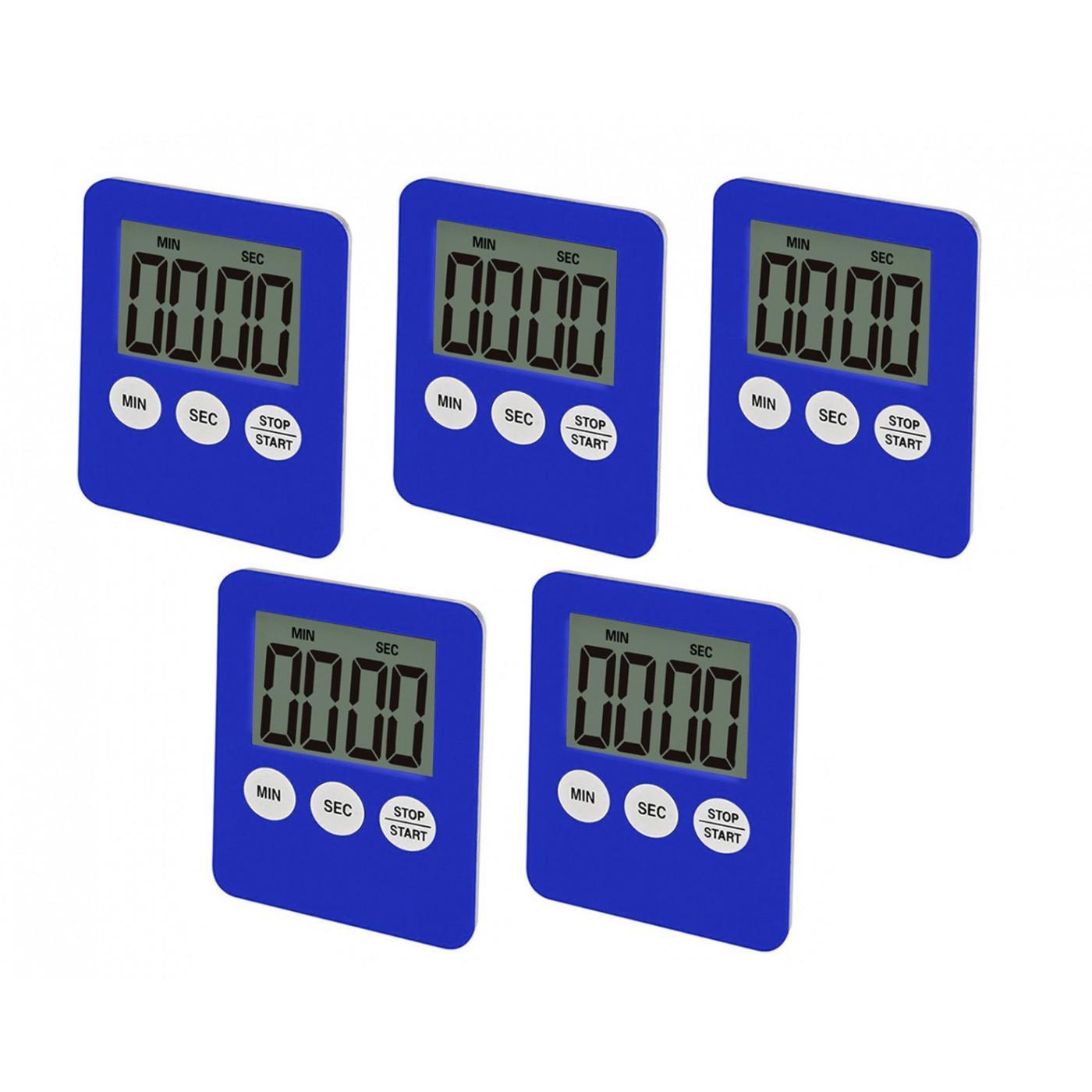 Ensemble de 5 minuteries numériques, réveils, bleu