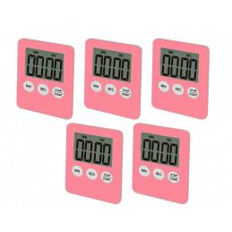 Zestaw 5 cyfrowych timerów, budzików, różowy  - 1