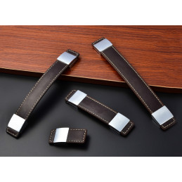 Set of 4 leather furniture handles, dark brown, 69x30 mm  - 1