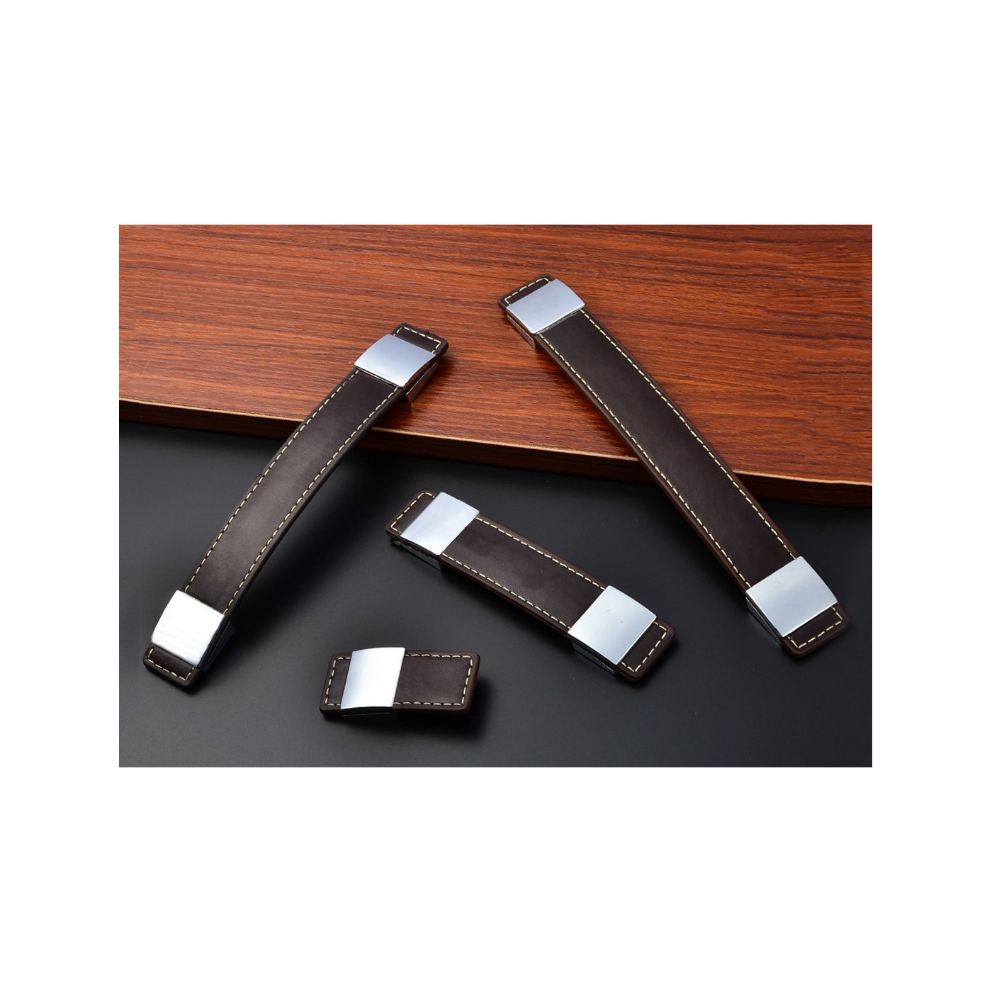Set van 4 lederen handgrepen meubels (69x30 mm, donkerbruin)