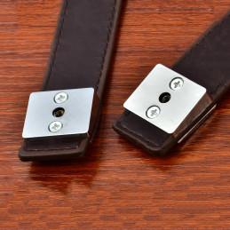 Set of 4 leather furniture handles, dark brown, 69x30 mm  - 2